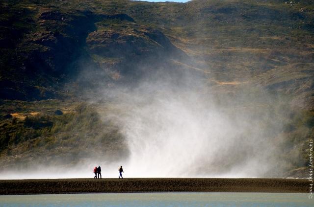 Walkers facing wind