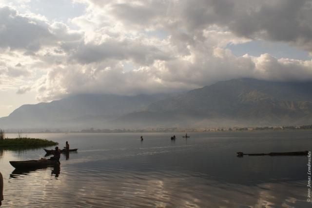 Canoes on a lake