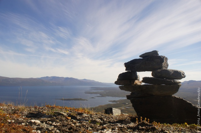 Stone men figure in Abisko, Sweden