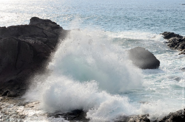 Wave breaking on the rocks in Tenerife