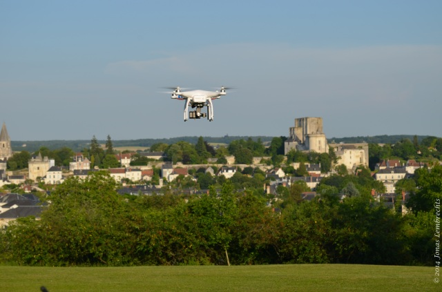Drone flying over Loches