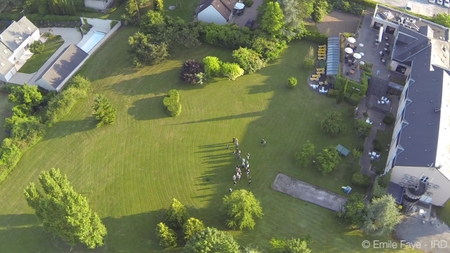 Drone image of the hotel in Loches