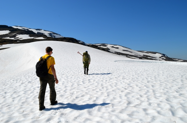 Crossing the snowfield