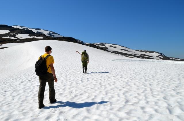 Crossing the snowfield