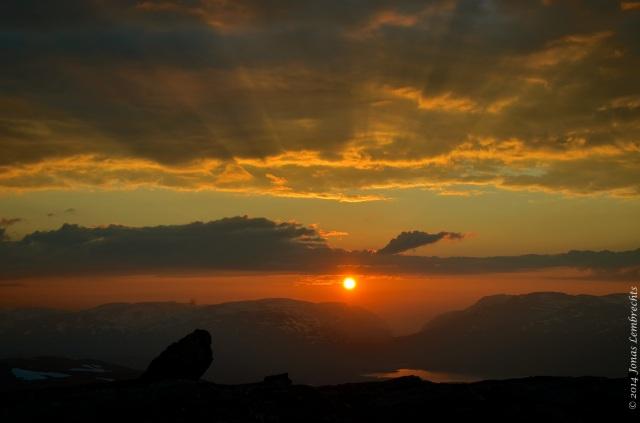 Midnight sun on Nuolja