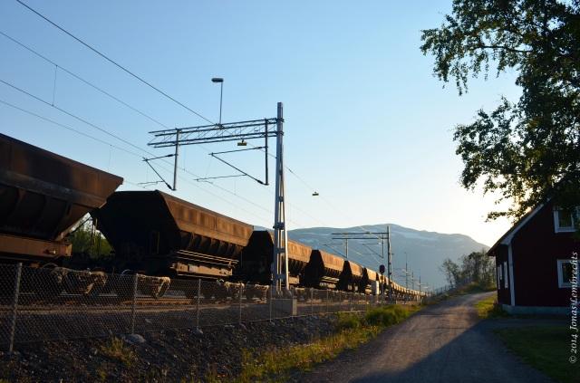 Mining train next to road, Abisko