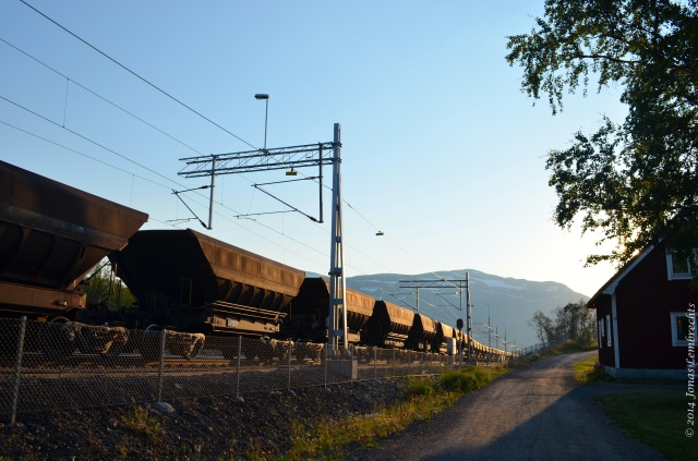 Mining train next to road, Abisko