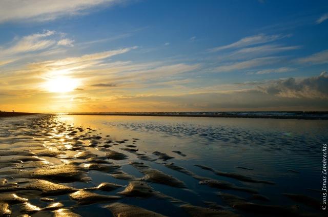 Sunset above North sea at Belgian coast