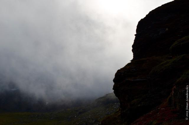 Rock in the mist in Abisko