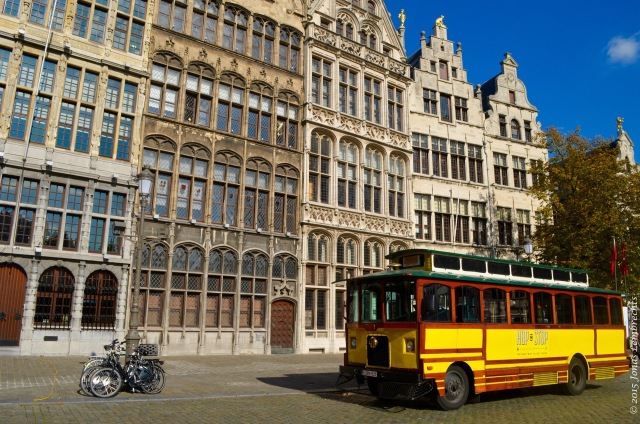 Cute yellow tourist bus, Antwerp