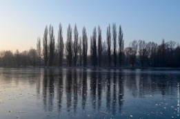 Frozen lake in Parc Saint Pierre