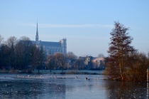Cathedral seen from the frozen Parc Saint-Pierre