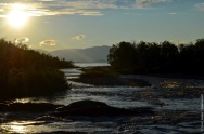 The mouth of the Abiskojokka with midnight sun