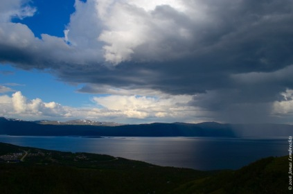 Thunderstorm over lake Törnetrask
