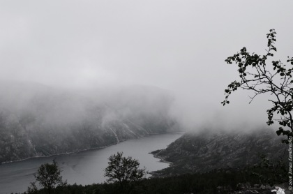 Misty view over the Rombak fjord in Norway