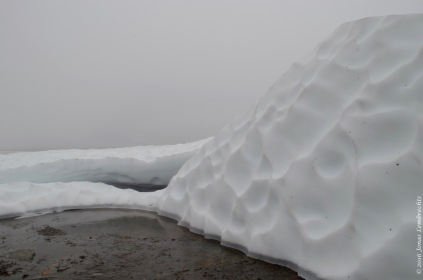 Melting snowpatch on a lake
