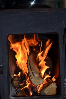 Cosy fire in the hut