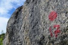 Plot marked on a rock
