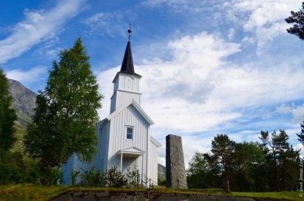Little white Norwegian church in the Skjomen valley