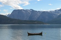 Canoe in a Norwegian fjord