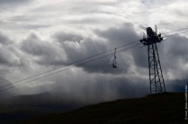 Rain on the background, the ski lift in Abisko on the foreground