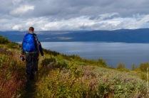 Hiking down mount Nuolja