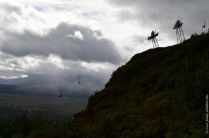 The steep slope of mount Nuolja on a dramatic looking morning