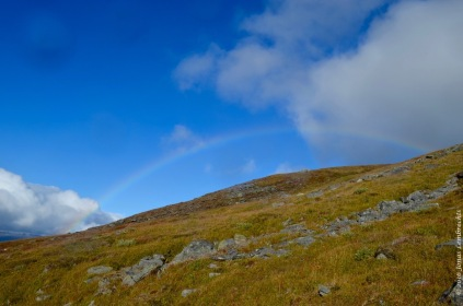 A full rainbow behind mount Nuolja in Abisko